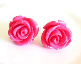 Hot Pink Carved Rose Stud Earrings (17mm Diameter)