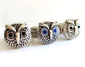 Owl Snap Button Ring - Includes Stretch Ring + Owl Button