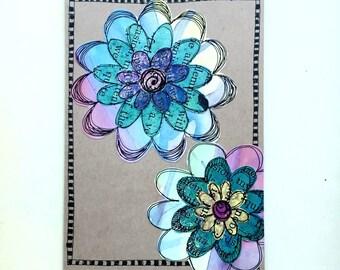 Paper Flower Garden series 1 - 5x7 (PFGL-0007) - Handmade Blank Card