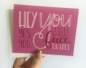 I Love You Greeting Card, Hand Lettered Card, Sweetest Day, Valentine's Day, Anniversary, Blank Cards, Greeting Cards