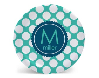 Personalized Melamine Plate-Polkie Dots