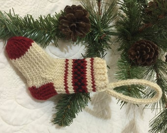 Miniature Knitted Stocking Ornament Quiltsy Handmade