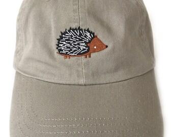 Hedgehog embroidered baseball cap, khaki with wide brim adjustable back closure