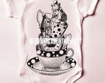 Alice in Wonderland Teacups Digital Download-fabric transfers onesies tee shirts baby showers custom party invitations tea towels no 9691