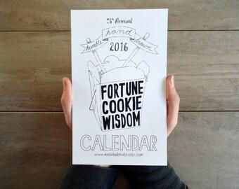 2016 Calendar, 2016 Fortune Cookie Wisdom Calendar, Wall Calendar, Illustrated Calendar, 2016 Calendar, Planner, Desk Calendar