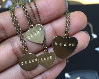 Drake stamped brass necklaces