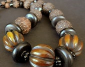 20% WINTER SALE Custom Hand Made Necklace with Vintage Embossed Wood Beads and Old Flueted Amber Resin  //   lw 16