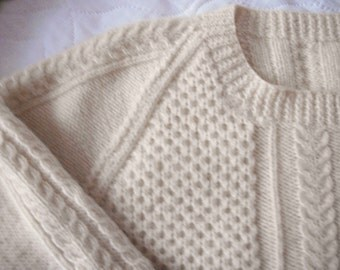 REDUCED Hand Knitted IRISH fisherman pattern sweater Pullover  FREE shipping