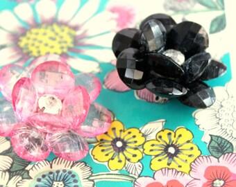 black or pink flower brooch