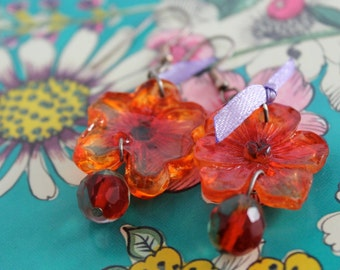 hot colored floral earrings