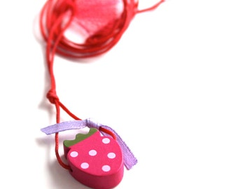 pink strawberry necklace