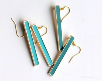 extra long turquoise and green earrings