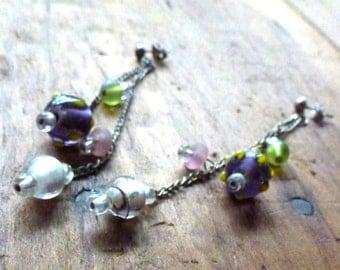 glass beaded long earrings