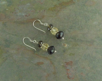 SMOKEY QUARTZ & CITRINE Faceted Gemstone Earrings Sterling Silver Natural Stone