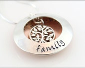 Personalized Locket Necklace with Tree of Life Charm in Sterling Silver and Copper | Hand Stamped Family Jewelry
