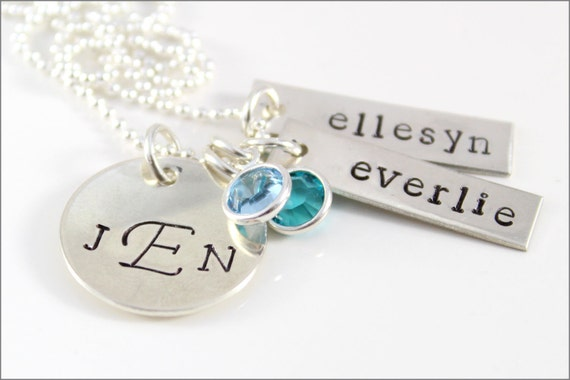 Monogram Necklace with 2 Names & Birthstones in Sterling Silver | Husband Wife Children's Names