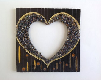 Gold and Black Mosaic Heart Frame