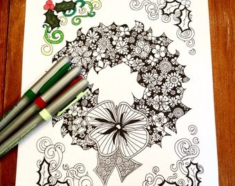 Adult Christmas Coloring Page Holiday Wreath Original Art Therapy Floral Pattern