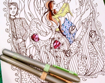 Fairy Tale Fantasy Coloring Page Kids Adults Original Art Therapy Prince Princess Horse