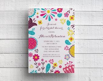 Spring Floral Bridal Shower Invitation Card, Invitation PDF, JPEG, Template, Pink and Blue, Invite, Wedding Shower, Kitchen Shower