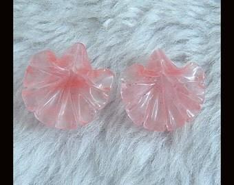 New,Carved  Volcano Cherry Quartz Flower  Earring Beads,18x17x8mm,3.03g
