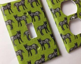 Zebra Light Switch Plate / Black and White Zebra Single Light Switchplate Cover / Animal Print Decor / Safari Nursery Decor/ Green Decor