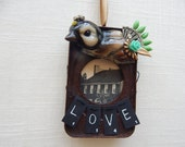 Fort Necessity Museum. boho chic ornament.  one of a kind original hanging art. vintage bird figurine.  love.