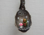 a spoonful of sugar:  nesting doll and mushroom.  one of a kind original hanging art. ornament.