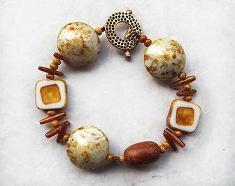 Rustic Bracelet, Czech Glass Bracelet, Handmade Bracelet, Chunky Bracelet