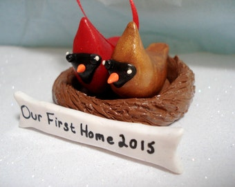 Christmas Ornament Our First Home Bird Ornament Cardinal First Home Polymer Clay Decoration First Christmas