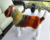"Dog Coat Hand Knit NORO Cable Luca 12.5"" inches long Merino Wool"