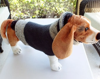 "Dog Sweater Hand Knit Baron 19"" inches long  Merino Wool Size Large"