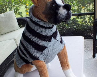 Dog Sweater Hand Knit Boxer Sweater 18 inches long