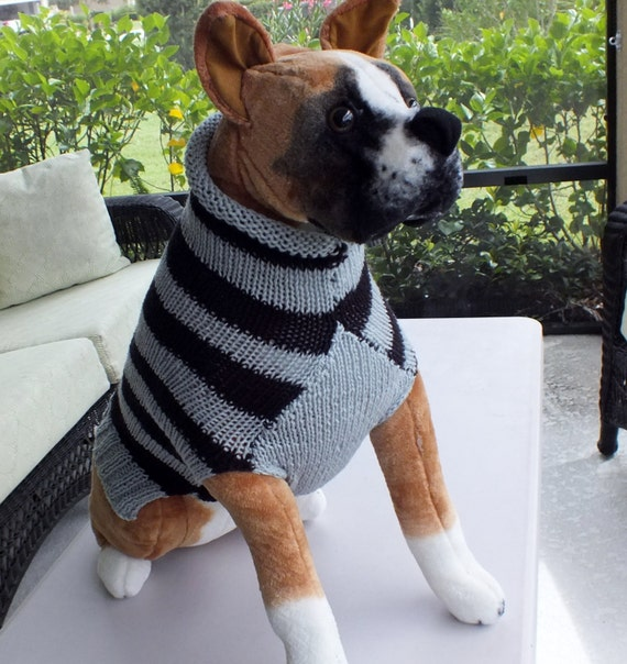 Knitting Patterns For Boxer Dogs : Dog Sweater Hand Knit Boxer Sweater 18 inches long