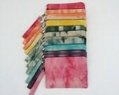 Custom Order Shibori Clutch w/ Detachable Handle // Tie-dyed Waxed Canvas Bag // Waxed Canvas Travel Bag // Any Color // Key Chain // Tiedye