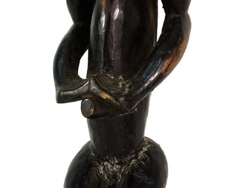 Fang Male Reliquary Guardian Figure on Stand Gabon African Art 98723 SALE WAS 3000