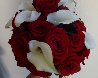 Wedding Bouquet  Rose Bouquet  Custom Wedding Bouquet  Calla Lily Bouquet  Elegant Bouqet  Fresh Flower Bouquet