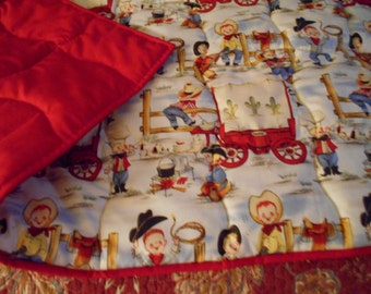 "Cowboy "" Lil Cowpokes""  Handmade  Baby Infant  Size  Quilt  Comforter  40 x 36"