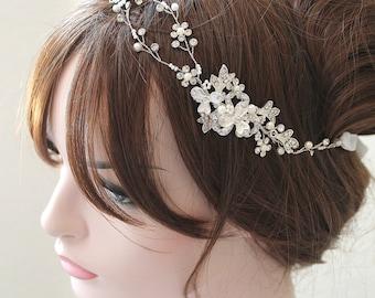 Silver Leaf Vine Bridal Headpiece. Gold Boho Delicate Crystal Pearl Wedding Wreath Headband. Rose gold Rhinestone Floral Hairpiece. TEREZ