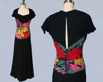1930s Dress / 30s Bold Floral Applique Gown / OPEN BACK / Metallic Lamé stitching! / STUNNING
