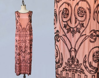 1920s Dress / 20s ADAIR Designer Pink with Black Beaded Flapper Dress / GORGEOUS and Wearable