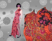 60s Psychedelic Maxi Dress - Thigh High Slit - Sleek Asian Style Hostess Gown