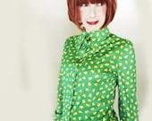 Vintage 70s Qiana Shirt - Candy Corn Print - 1970s Qiana Knit Blouse