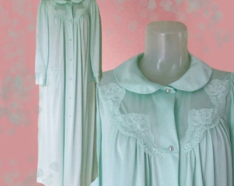 Plus Size Robe, Vintage Nylon Robe, Oversized Loungewear, Full Length Robe, Plus Size Dressing Gown, Luxury Lingerie Robe with Lace