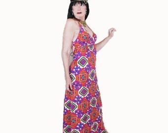 Vintage 70s Maxi Sundress - Exotic Print - Hippie Boho Summer Dress