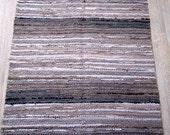 Handwoven rag rug - 2.79' x  3.44'-  beige, brown