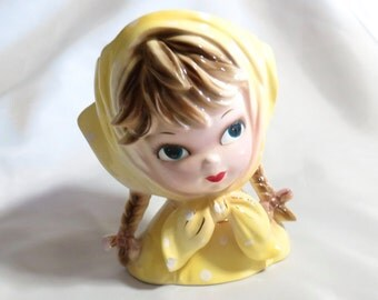 Vintage Girl Head Vase in Yellow with Braids