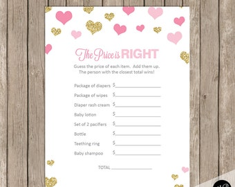 The Price is Right Baby Shower Game, pink and gold glitter hearts baby shower activity, baby shower game, baby shower activity card, PGG01