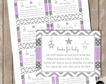 Twinkle Twinkle Little Star Book Request Card for baby shower,  purple and gray, star shower bring a book request card INSTANT TLSP
