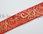 "1.5"" Red Base Gold Holographic Foil Fancy Swirls 5 yards"